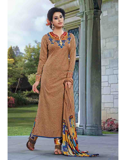Beige Cotton Unstitch Salwar Kamiz