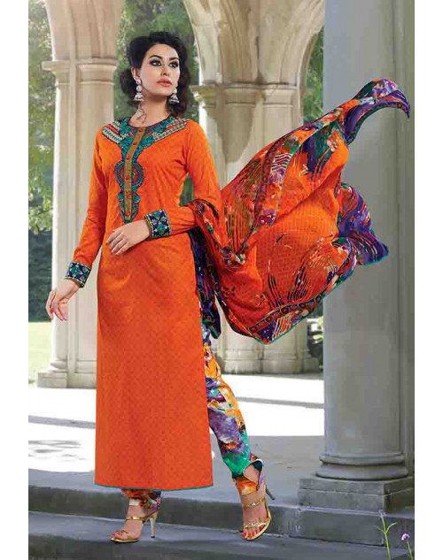 Orange Cotton Unstitch Salwar Kamiz