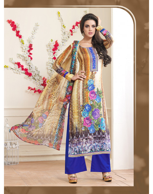 Blue Pure Lawn Cotton Salwar Kamiz