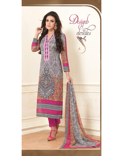 Grey Pure Lawn Cotton Salwar Kamiz