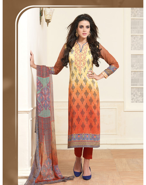 Orange Pure Lawn Cotton Salwar Kamiz