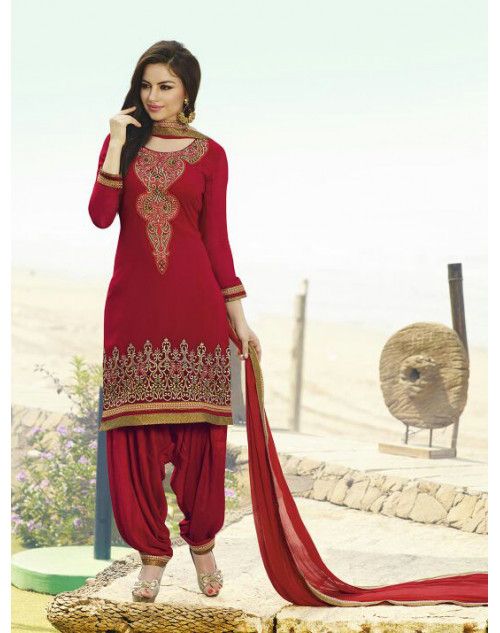 Red Georgette Salwar Kamiz