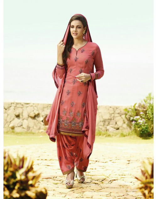 Light Coral Georgette Salwar Kamiz