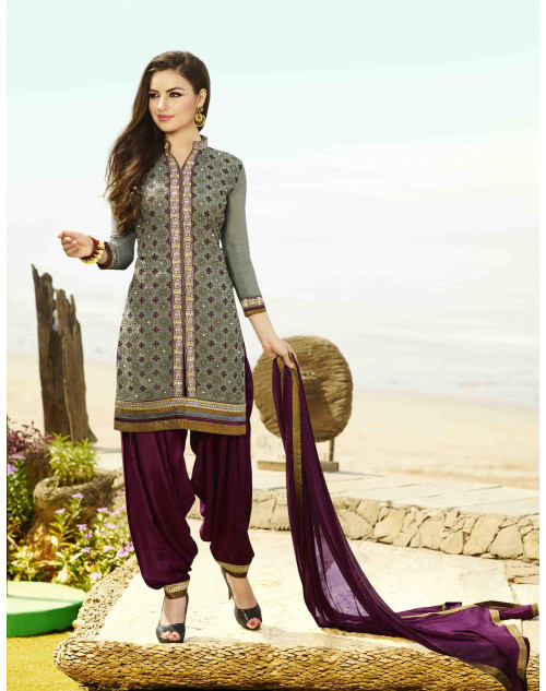 Dark Grey Georgette Salwar Kamiz