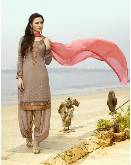 Rosy Brown Georgette Salwar Kamiz