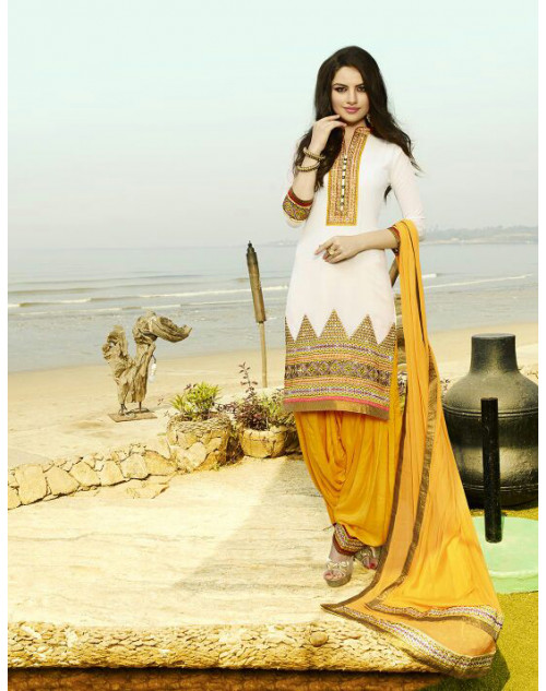 White and Yellow Georgette Salwar Kamiz