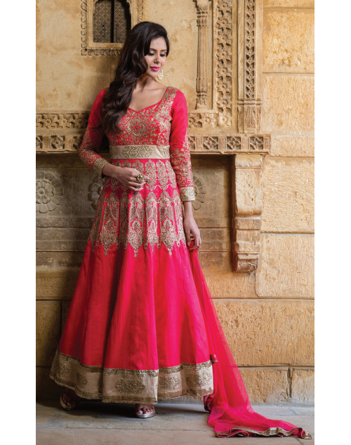 Deep Pink Heavy Readymade Suit