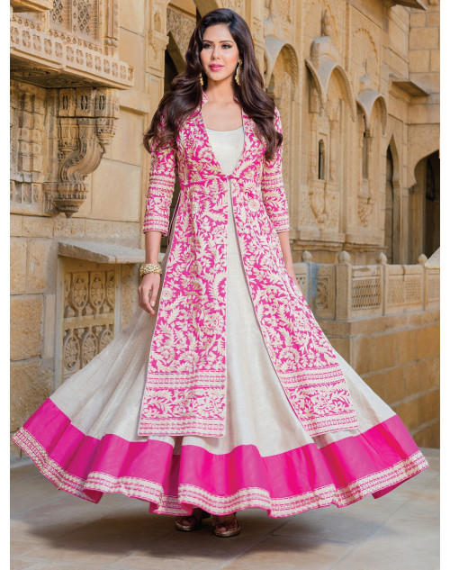 Hot Pink and White Heavy Readymade Suit
