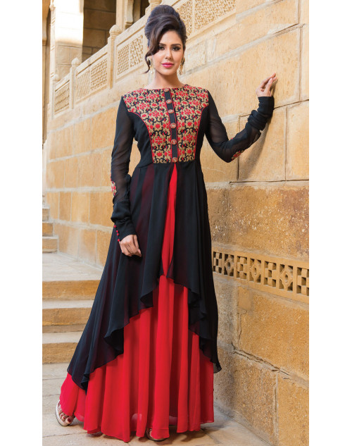 Red and Black Heavy Readymade Suit