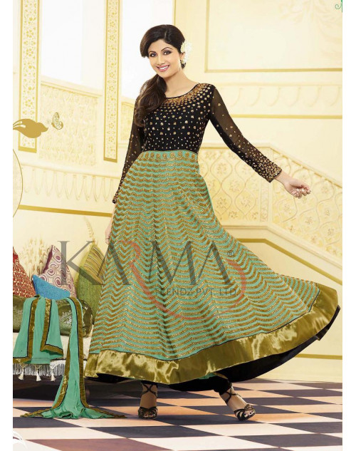 Shilpa Shetty Black and Light Green Salwar Kamiz