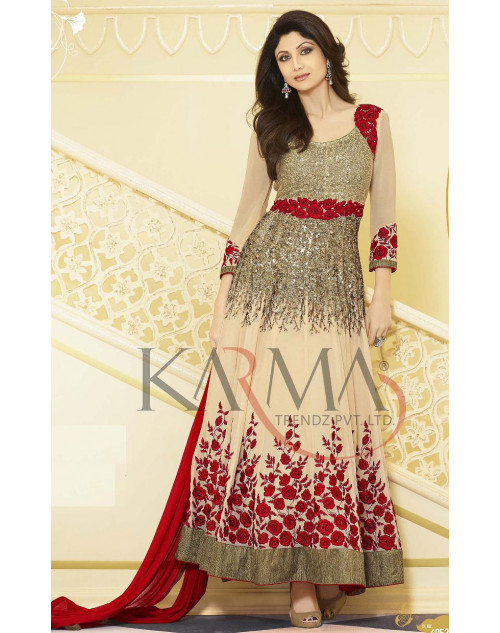 Shilpa Shetty Cream and Red Salwar Kamiz