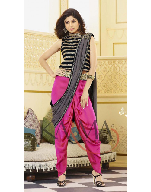Shilpa Shetty Black and Pink Salwar Kamiz