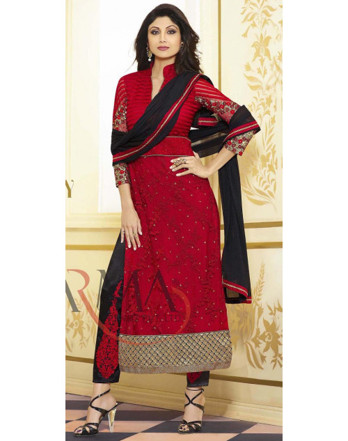 Shilpa Shetty Red Salwar Kamiz