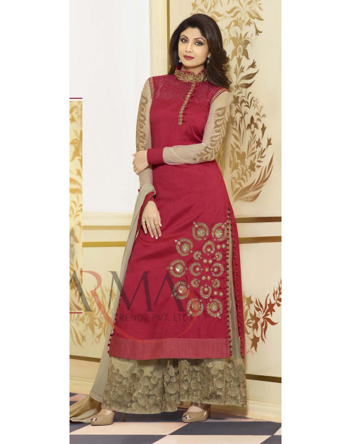 Shilpa Shetty Red and Khaki Salwar Kamiz
