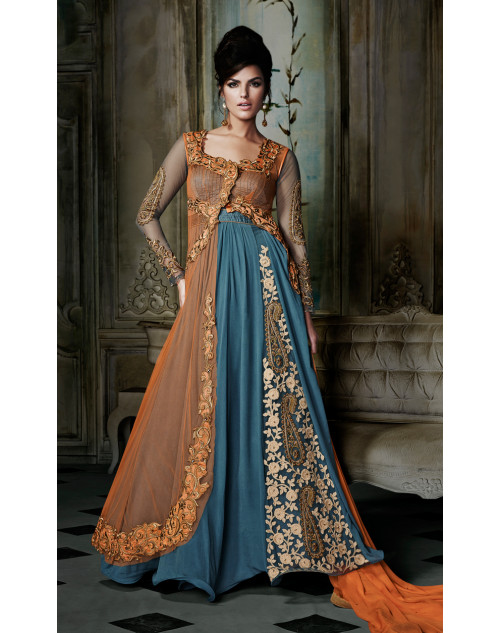Blue Designer Georgette Gown