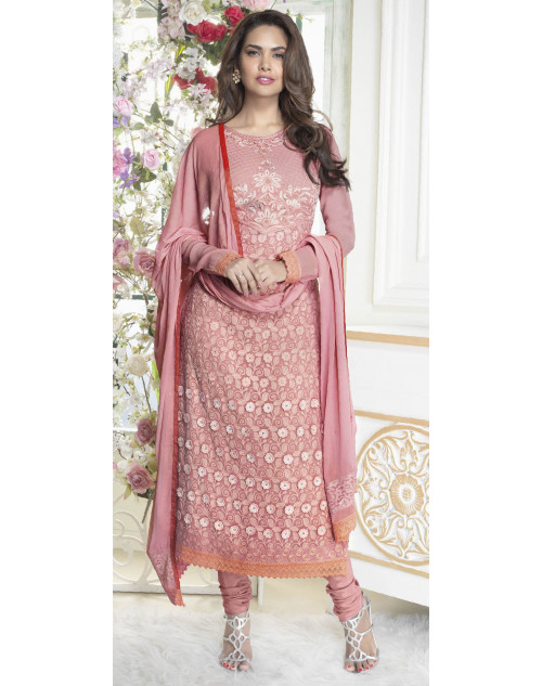 Esha Gupta Light Pink Georgette Salwar Kamiz