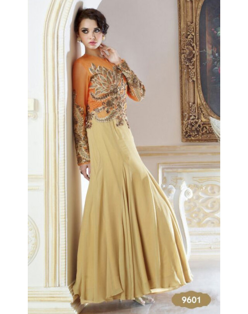 Orange and Wheat Georgette Gown