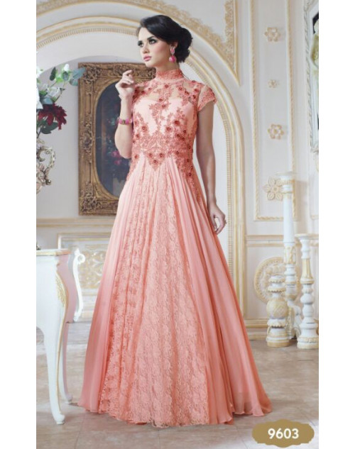 Light Pink Pure Georgette Gown