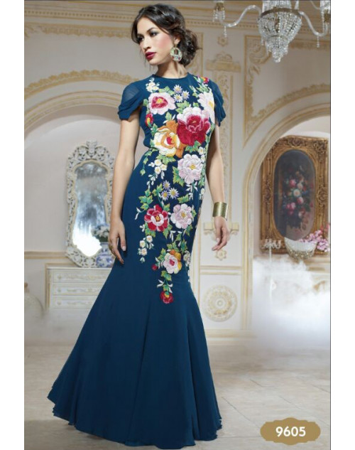 Dark Blue Pure Georgette Gown