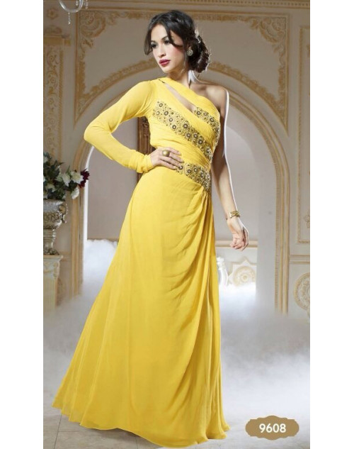 Yellow Pure Georgette Gown