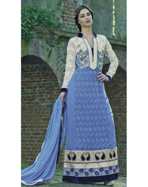 White and Royal Blue Georgette Salwar Kamiz