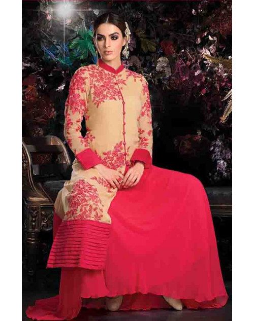 Pink Georgette Net with Inner Lehenga