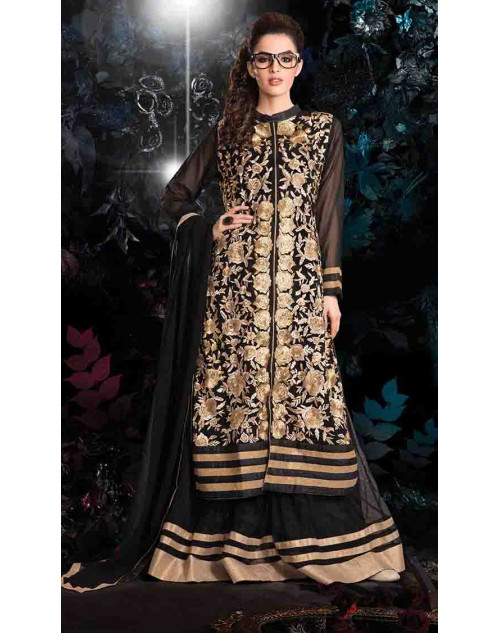 Black and Cream Georgette Net with Inner Lehenga