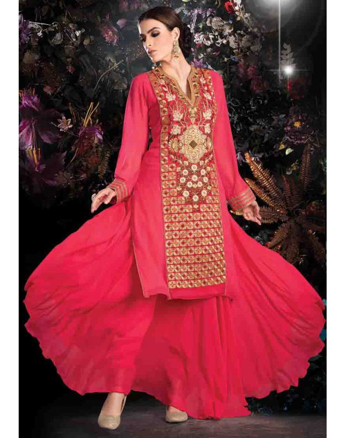 DeepPink Georgette Net with Inner Lehenga