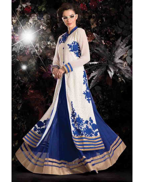 Off-white and Blue Georgette Net with Inner Lehenga