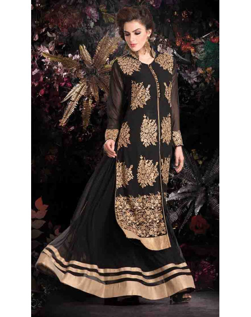 Black Georgette Net with Inner Lehenga