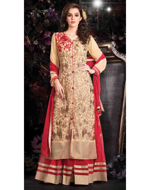 Moccasin Georgette Net with Inner Lehenga