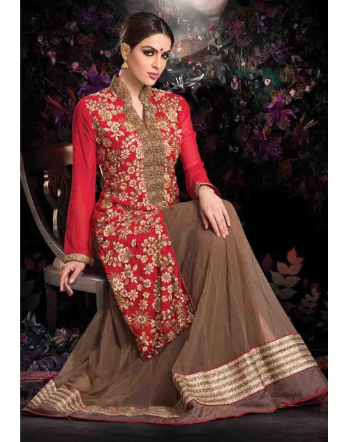 Red and Peru Georgette Net with Inner Lehenga