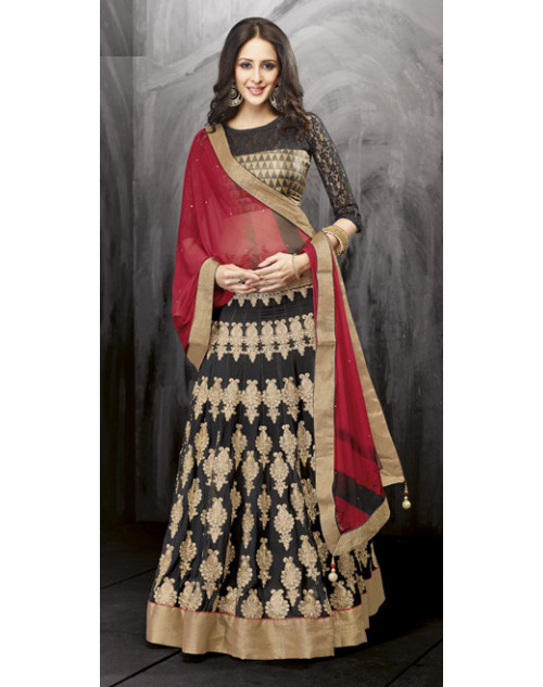 Bollywood Black Poly Georgette Lehenga