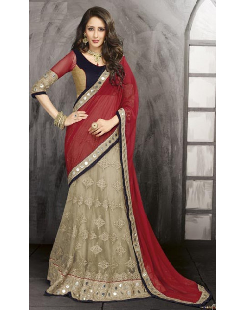 Bollywood Black and Red Net Lehenga