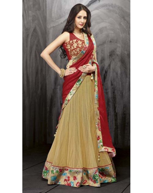 Bollywood Red and Wheat Net Lehenga