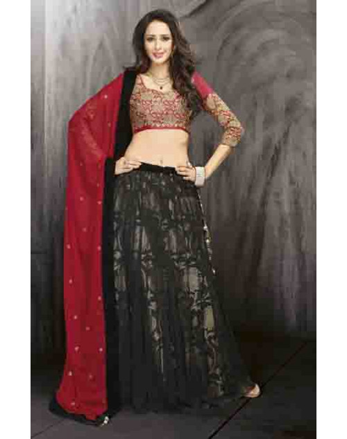 Bollywood Red and Black Net and Tusser Silk Lehenga