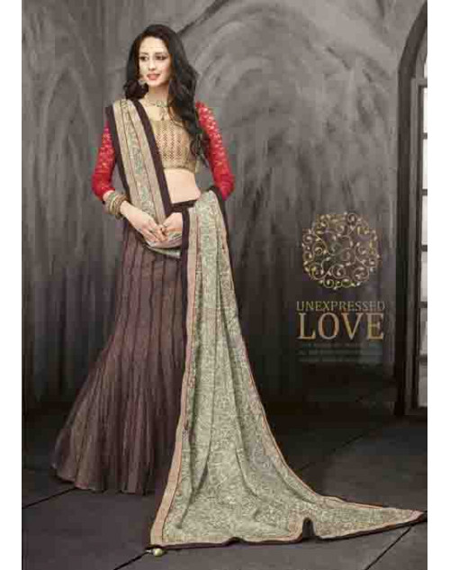 Bollywood Cream and RosyBrown Net Lehenga