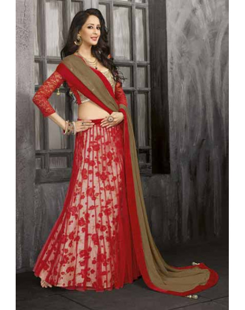 Bollywood Red Net Silkfeel Print Lehenga