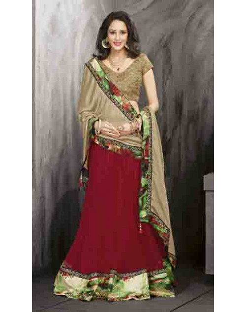 Bollywood Cream and Maroon Net Lehenga