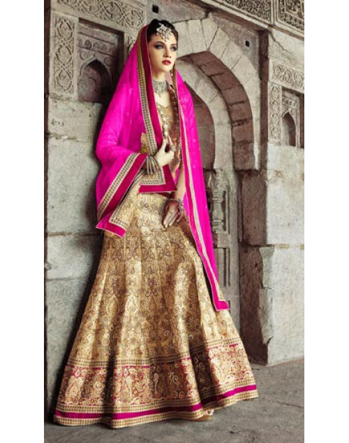 GoldenRod an Chikoo Heavy Designer Wedding Lehenga Choli