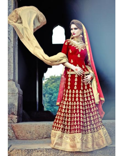 Red Heavy Designer Wedding Lehenga Choli