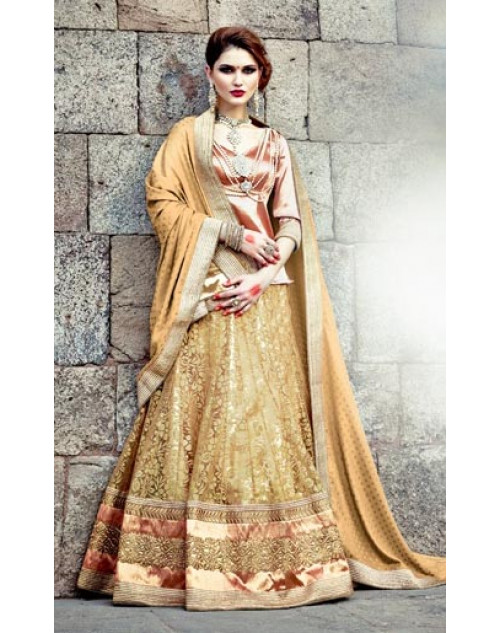 PaleGoldenRod Heavy Designer Wedding Lehenga Choli