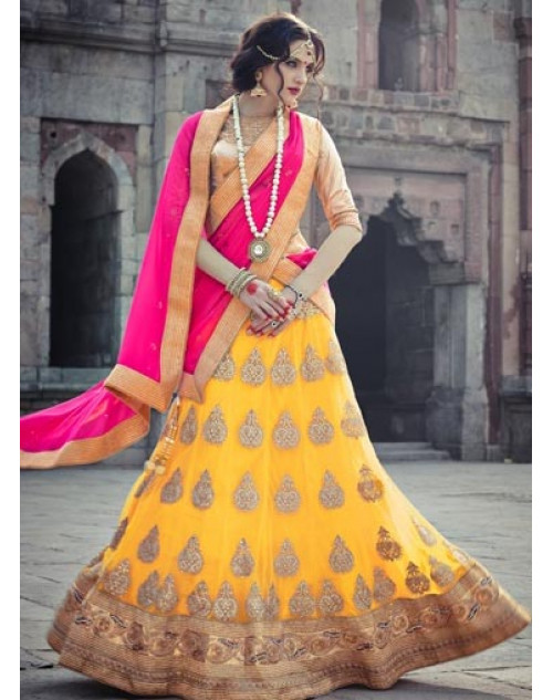 LightGoldenRodYellow and Gold Heavy Designer Wedding Lehenga Choli