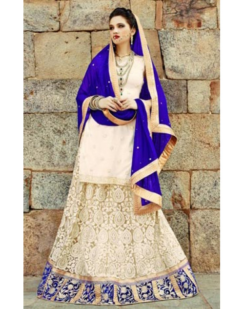 Cream and Blue Heavy Designer Wedding Lehenga Choli