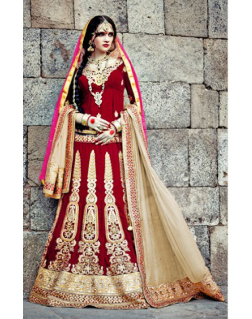 Maroon Heavy Designer Wedding Lehenga Choli