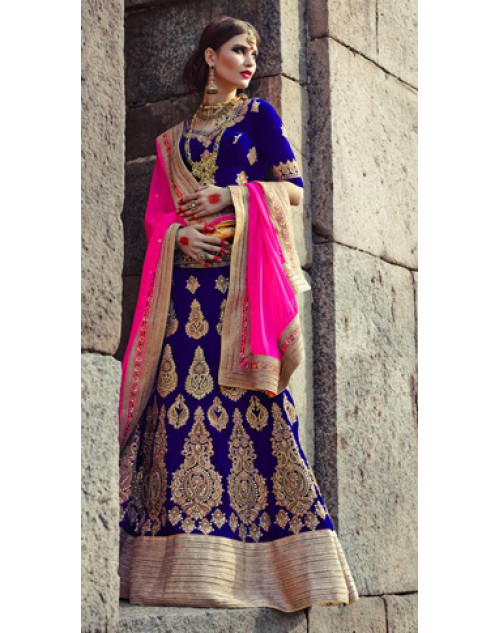 DarkBlue Heavy Designer Wedding Lehenga Choli
