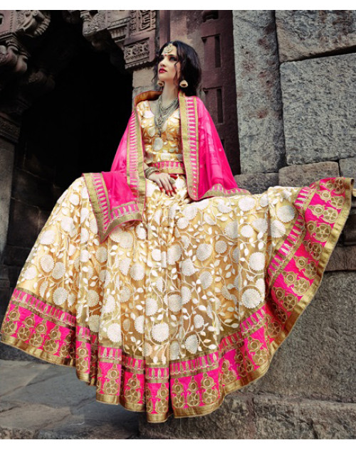 Cream and Pink Heavy Designer Wedding Lehenga Choli