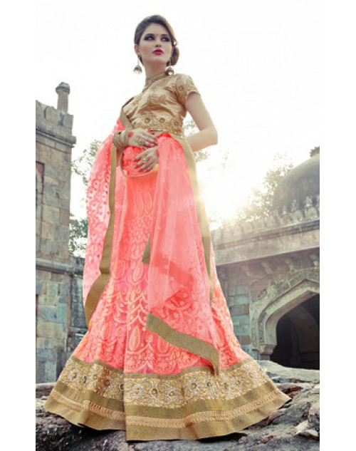 Salmon and SandyBrown Heavy Designer Wedding Lehenga Choli