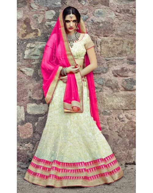Off-white and Pink Heavy Designer Wedding Lehenga Choli
