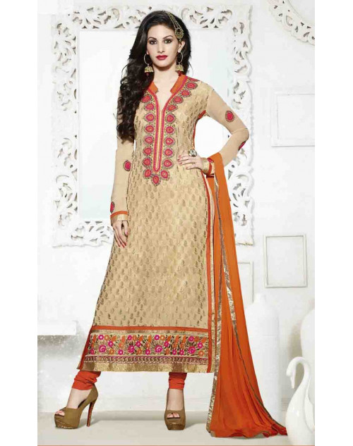 Amyra Dastur Moccasin and Orange Georgette and Brasso Salwar Kamiz